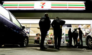 Ice agents at a 7-Eleven in LA on Wednesday.