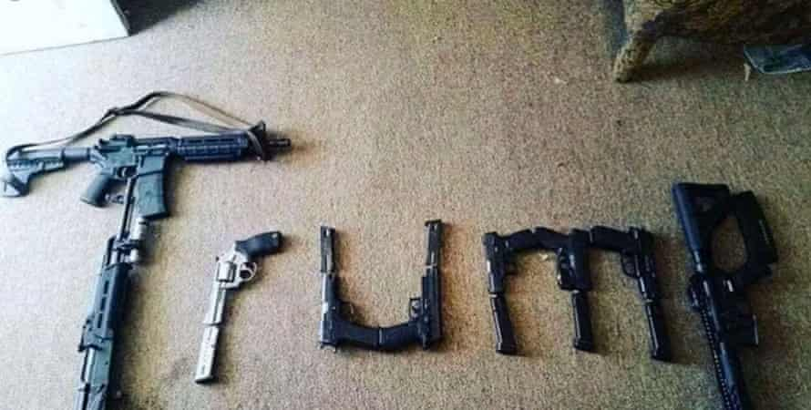 A picture of guns shaped to spell out 'Trump', which was 'liked' on Twitter by an account in the name of the alleged El Paso shooter.