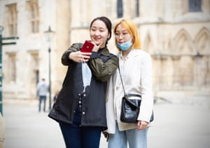 July 2020: students take photos in front of York Minster Cathedral