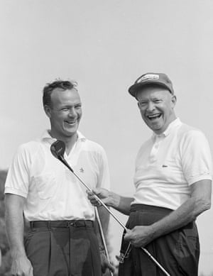 9 September 1960. President Dwight Eisenhower jokes with Arnold Palmer, just before they played a round of golf together in a foursome at the Gettysburg country club, Gettysburg, Pennsylvania.