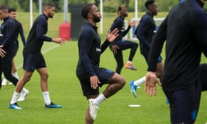 Raheem Sterling at an England training session, where his tattoo is visible.