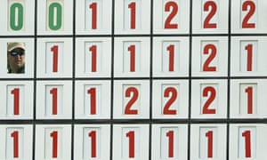 The scoreboard at the Masters in Augusta.