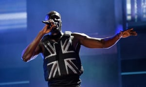 Stormzy performs on the Pyramid Stage on day three of the Glastonbury Festival