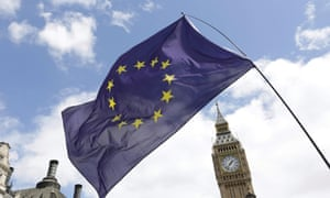 A European Union flag held in front of the Big Ben clock tower in Parliament Square
