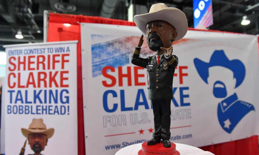 A Sheriff David Clarke talking bobblehead is shown during the CPAC in Maryland in February.