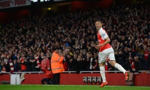 Kieran Gibbs of Arsenal celebrates scoring his goal during the Premier League against Tottenham Hotspur.