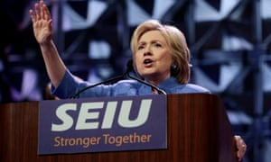 Democratic presidential candidate Hillary Clinton addresses Service Employees Union (SEIU) members at the union's 2016 International Convention in Detroit, Michigan, May 23, 2016. REUTERS/Rebecca Cook