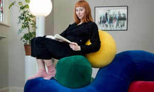 Eva on her 'wobble and a pickle and the sun' Into-Form sofa.