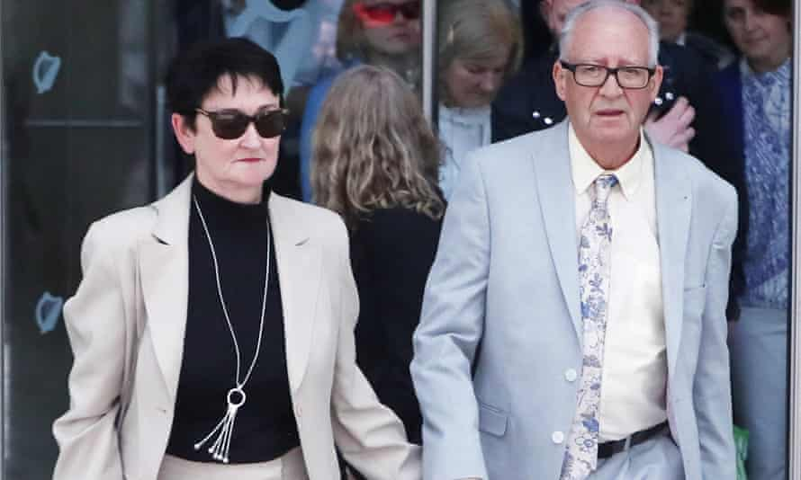 Ana's parents Patric and Geraldine Kriégel leave Dublin's Central Criminal Court after the guilty verdicts were announced.
