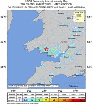 Uk earthquake tremor hits south west england and south wales a shake map of the 44 magnitude earthquake centred on south wales gumiabroncs Image collections