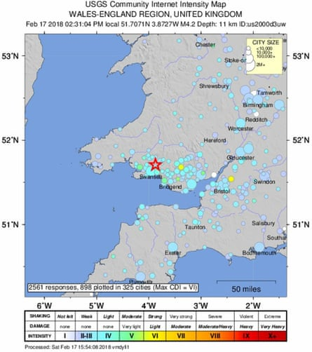 A shake map of the 4.4-magnitude earthquake centred on south Wales.