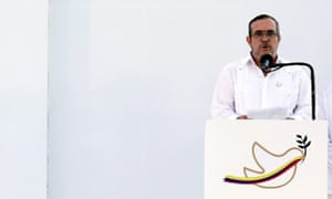 Farc leader Rodrigo Londono Echeverri during the signing of the peace agreement in Cartagena, Colombia.