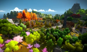 The Witness scene of trees and hills