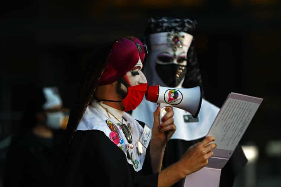 Sister Lida Christ, with the Boston Sisters of Perpetual Indulgence, attends a vigil for supreme court justice Ruth Bader Ginsburg in Copley Square on 20 September.