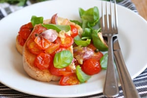 Roasted tomatoes on toast, with basil instead of Galasso's mint