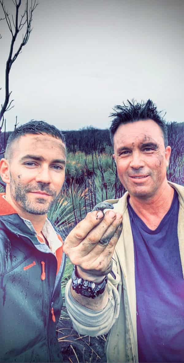 Zak Atkins and Nick Clemann holding a threatened swamp skink (Lissolepis coventryi) at a burnt swamp in East Gippsland in 2020