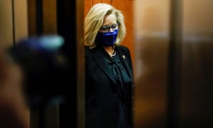 Liz Cheney departs after a House Republican Caucus meeting on Capitol Hill.
