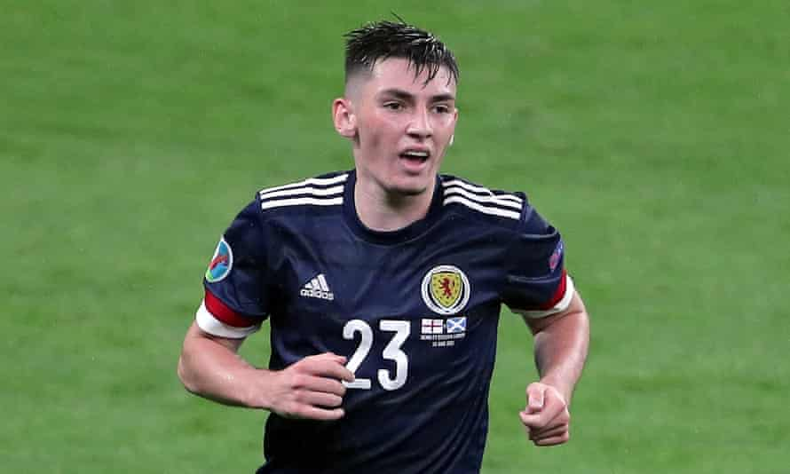 Billy Gilmour in action for Scotland against England at Euro 2020.