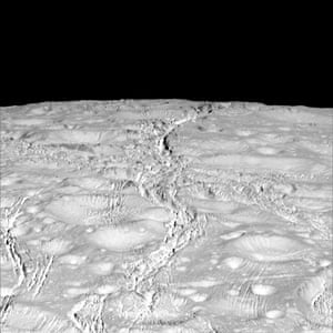 14 October 2015The north pole of icy Enceladus. Scientists expected the north polar region of Enceladus to be heavily cratered, based on low-resolution images from the Voyager mission, but high-resolution Cassini images show a landscape of stark contrasts. Thin cracks cross over the pole – the northernmost extent of a global system of such fractures. Before this Cassini flyby, scientists did not know if the fractures extended so far north on Enceladus.