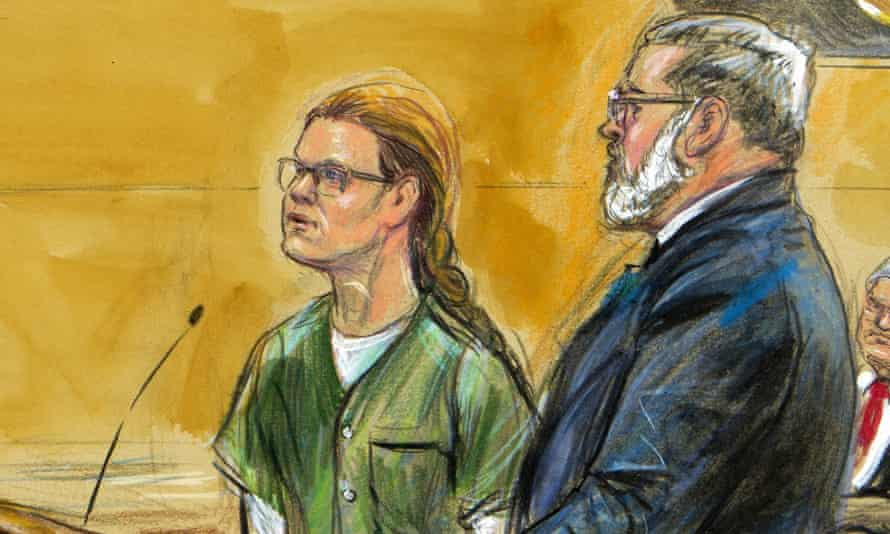 In this courtroom sketch, Maria Butina, left, is shown next to her attorney Robert Driscoll on Thursday
