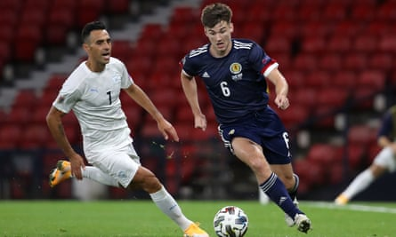 Kieran Tierney (right) in action for Scotland against Israel in September. The teams meet on Thursday in a Euro 2020 play-off.