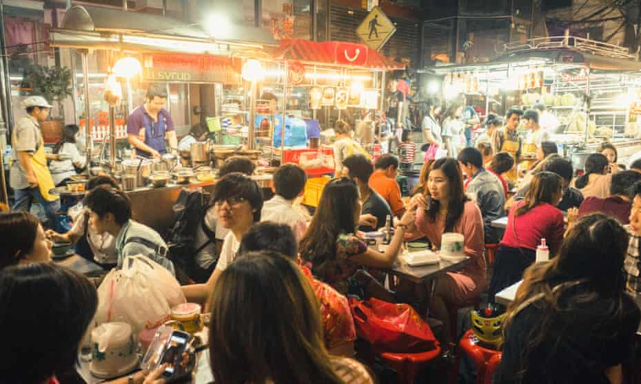 Street food on Yaowarat Road in Chinatown, where stalls have been serving the same dishes for generations.