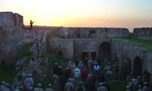US service members during a sunrise Easter Mass at St Elijah's Monastery in March 2005.