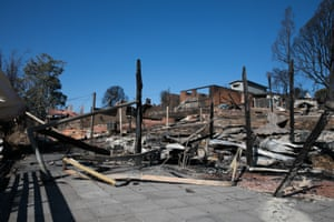 Some of the more than 70 houses and businesses destroyed by a bushfire in the coastal NSW town of Tathra in late March.