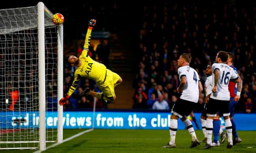 Hugo Lloris makes a save during Tottenham's victory at Crystal Palace in January.