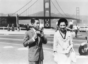 Crown Prince Akihito and Crown Princess Michiko visit the Golden Gate Bridge in San Francisco, US, in September 1960