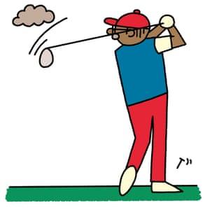 A pensioner swinging  a golf club