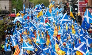 Pro-independence marchers in Glasgow