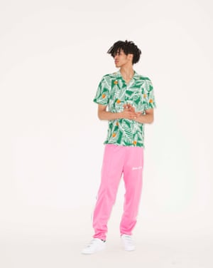Kelvin Shirt, £65, whistles.com. Trousers, £355, by Palm Angels, from harveynichols.com. Trainers, £70, adidas.co.uk.
