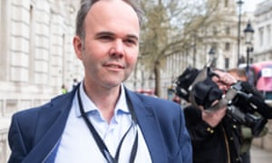 Gavin Barwell, No 10 chief of staff, leaves the Cabinet Office in Whitehall.