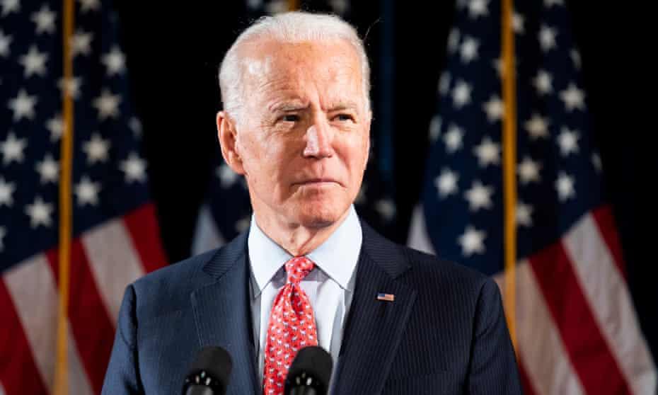 Joe Biden discusses the coronavirus in Wilmington, Delaware, this month.