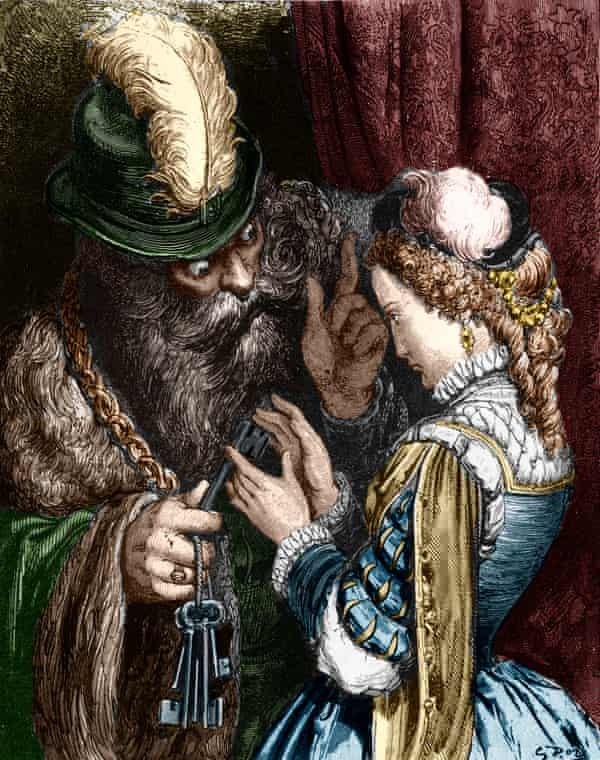 An 1867 Gustave Doré engraving of Bluebeard entrusting his keys to his wife, from the fairytale by Charles Perrault.