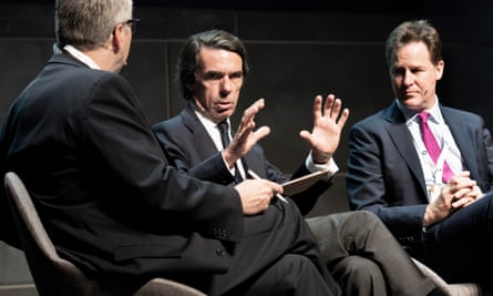 José María Aznar (centre) and Nick Clegg (right) also spoke at the conference