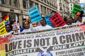 Participants in the Pride London march in Trafalgar Square