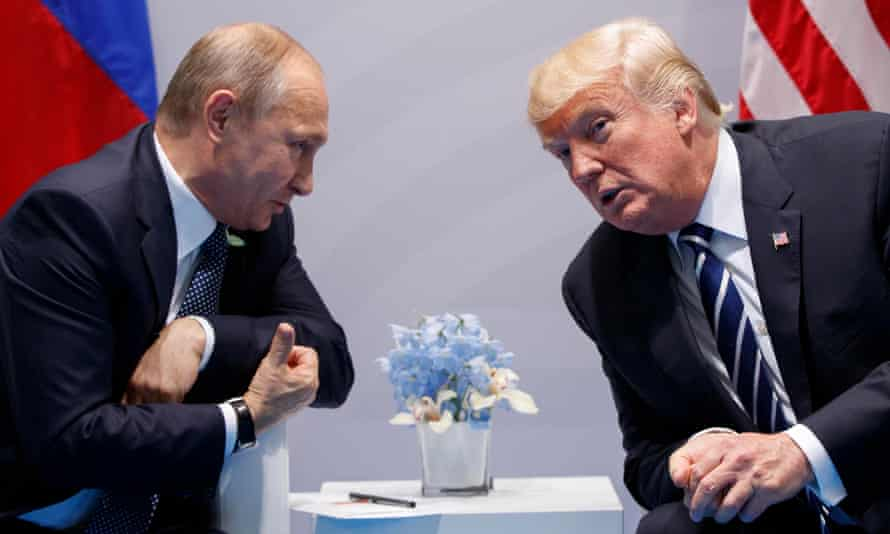 Cosy chats … Vladimir Putin and Donald Trump at the G20 summit in July.