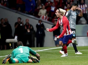 Antoine Griezmann celebrates after scoring the only goal of the game.
