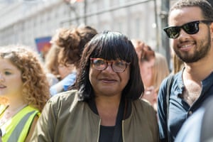 Diane Abbott, the shadow home secretary, joins the protest in Whitehall to stop the parliament shutdown