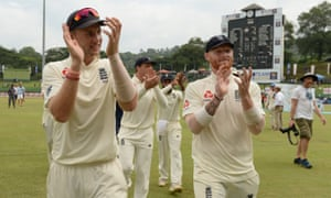 Joe Root and Ben Stokes acknowledge the England fans after victory on the final day.