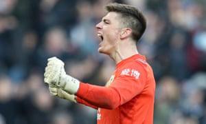 Burnley goalkeeper Nick Pope celebrates.