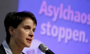 Frauke Petry, chair of the rightwing AfD party, addresses supporters in Bitterfeld