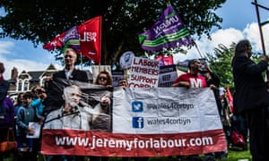 A rally in support of the Labour leader, Jeremy Corbyn, in Cardiff last Friday