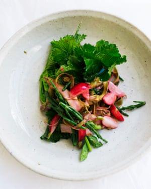 Asparagus, samphire and radish.