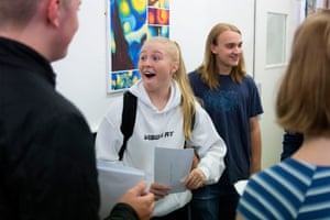 Georgia Davies reacts after opening her results at Ffynone House school in Swansea