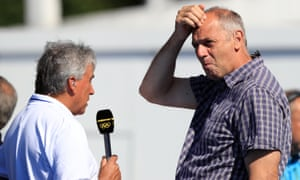 Inverdale and Redgrave discuss a point at the Lagoa Stadium on the eighth day of the Olympic Games.