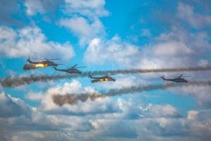 Russian helicopters over Zabaykalsky Krai