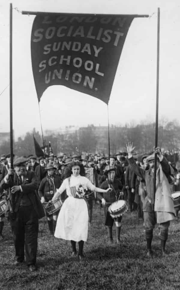A banner reading London Socialist Sunday School Union at the Socialist Labour Day demonstration in Hyde Park, London, 1913.